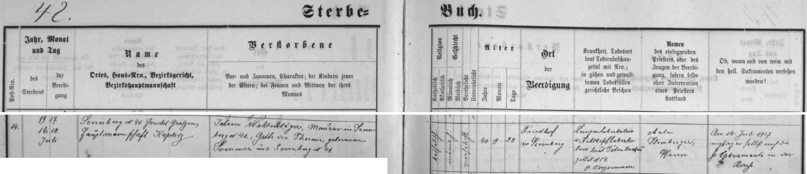 """Záznam žumberské úmrtní matriky o skonu jeho děda ve 40 letech na """"souchotě"""", jak se tenkrát i česky říkalo, výraz """"die Sucht"""" má přitom v němčině význam """"nemoc, nákaza"""" vůbec"""