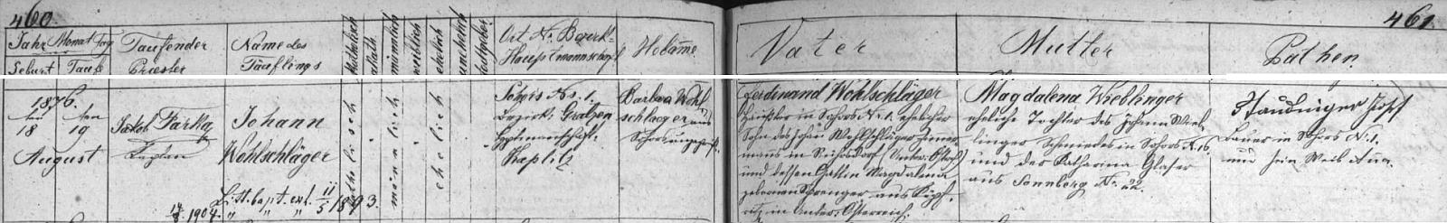 Záznam žumberské křestní matriky o narození dědově v Žáru čp. 1 Ferdinandu Wohlschlägerovi, jehož rodiče sem přišli z Dolních Rakous, a jeho ženě Magdaleně, dceři kováře v Žáru čp. 10 Johanna Wiblingera a Kathariny, roz. Glaserové ze Žáru čp. 22