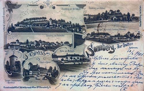 """Tuto pohlednici Žumberka popsal nějaký """"vlastenec"""" českým textem v azbuce"""