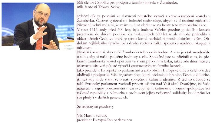 Pozdrav prezidenta Evropského parlamentu Martina Schulze k jubilejní slavnosti