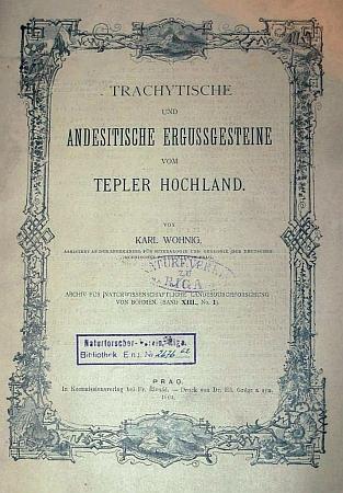 Obálka (1904) jeho práce o trachytických a andesitických vyvřelinách Tepelské vrchoviny