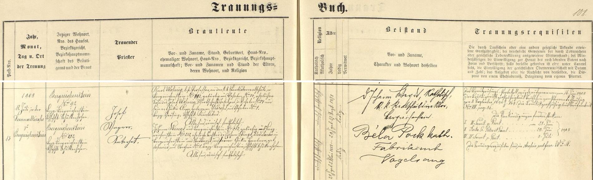 Záznam kašperskohorské oddací matriky o jeho zdejší svatbě