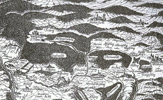 Raifmaß na staré Vischerově mapě z let 1667-1669