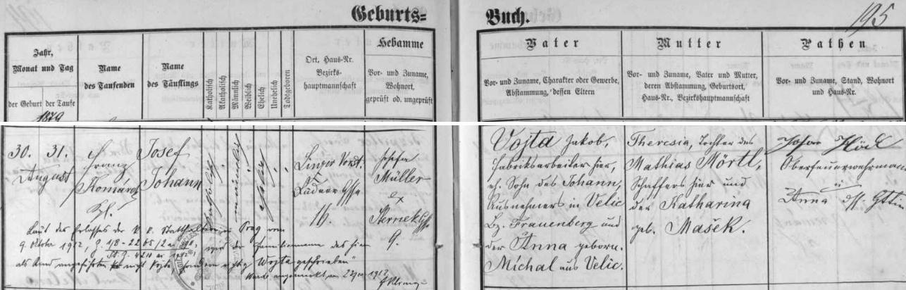 Záznam o jeho narození a křtu v českobudějovické matrice s pozdějším přípisem o změně psaní jeho příjmení