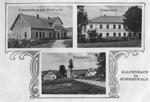 """""""Složená"""" pohlednice ze starého Kaltenbachu, kde je Woldrichův hostinec označen jako """"turistický dům"""""""