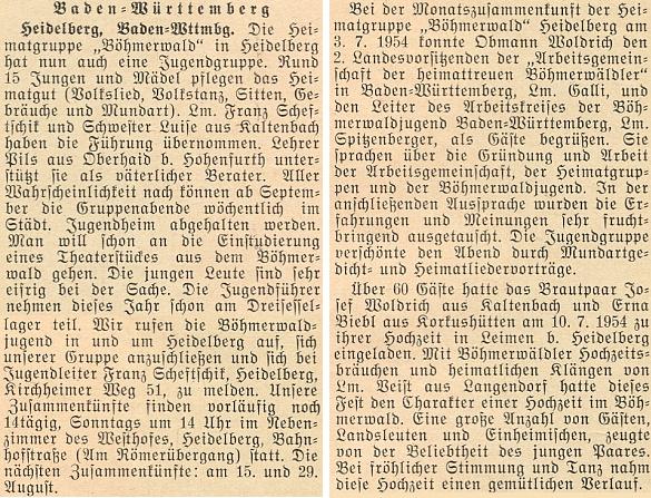 O svatbě Josefa Woldricha v Leimen u Heidelbergu 10. července 1954 a o činnosti tamní skupiny mladých