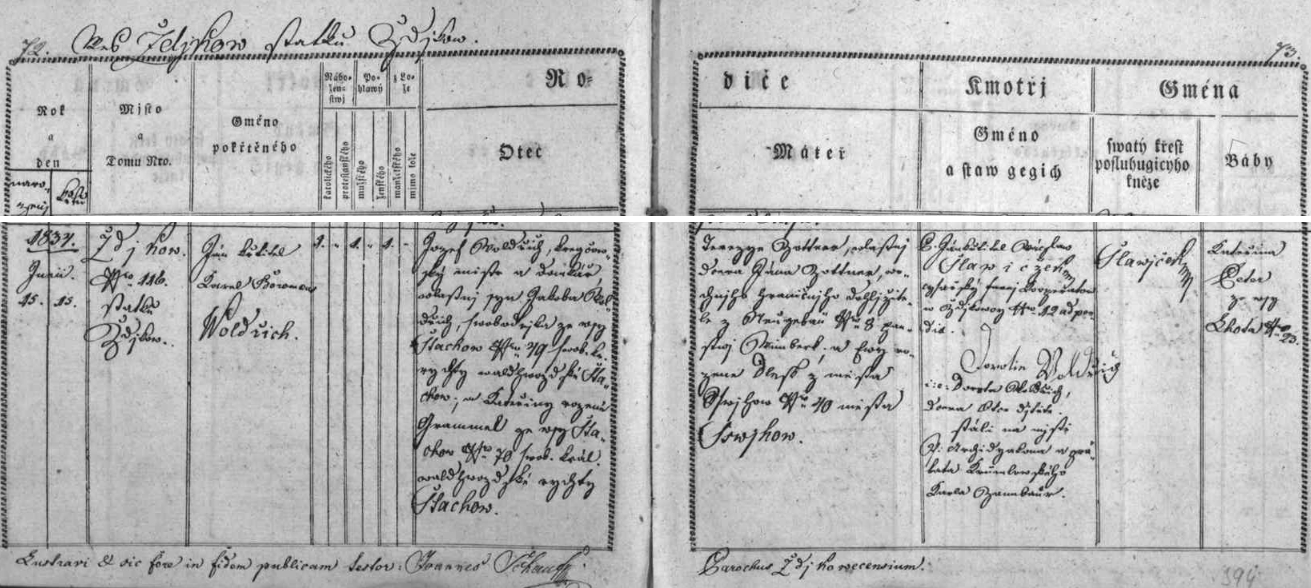 Záznam o jeho narození ve zdíkovecké křestní matrice