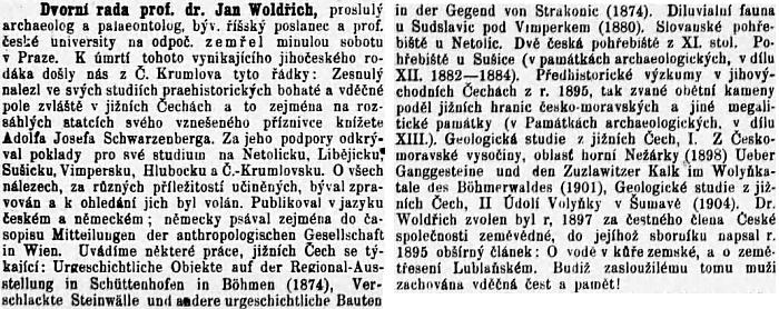 Nekrolog na stránkách českobudějovického českého listu