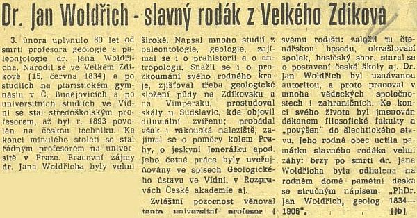 Článek českobudějovického deníku k 60. výročí Woldřichova skonu