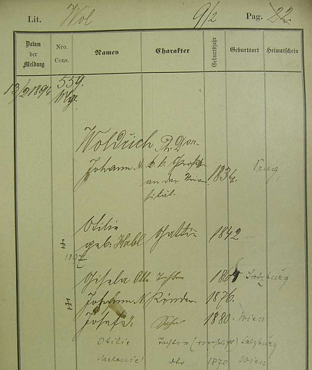 Jeho pražská policejní přihláška, na níž je uedena i jeho choť Ottilie, roz. Hablová (1842-1897), a děti, narozené v Salzburgu a ve Vídni
