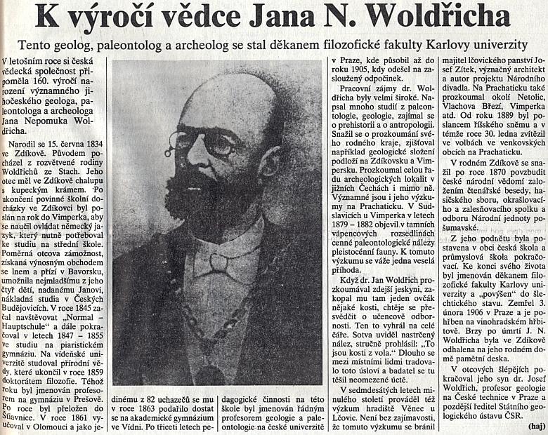 Připomínka 160. výročí jeho narození v prachatickém regionálním deníku