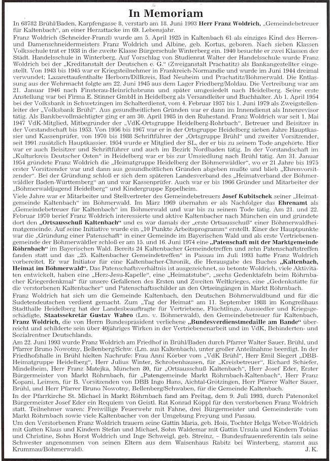 Obsáhlý nekrolog na stránkách krajanského měsíčníku napsal nejspíš Josef Kufner