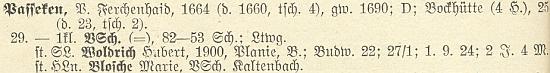 Její otec Hubert Woldrich učil v roce 1928 na jednotřídce v zaniklé dnes Pasece (Passeken) nedaleko od rodných Plání (Planie)