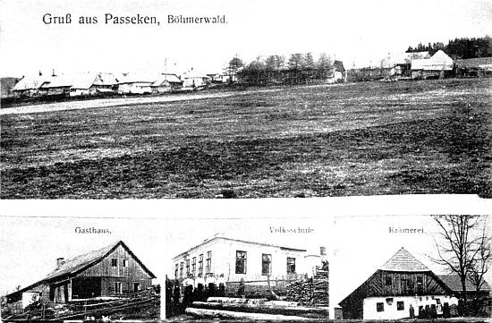 Pohlednice ze zaniklé vsi Paseka zachycuje i budovu zdejší obecné školy