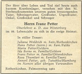 Parte děda z matčiny strany, šumavského učitele Franze Pettera