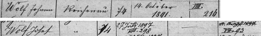 Poněvadž víme, že měl bratra Josefa, dá se v indexu rychnovské matriky na čp. 74 najít jeho i bratrovo datum narození: Johann byl skoro o 6 let starší
