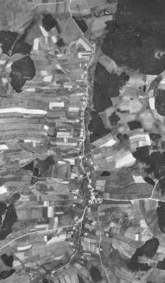 Rychnov u Nových Hradů na leteckých snímcích z let 1952 a 2008