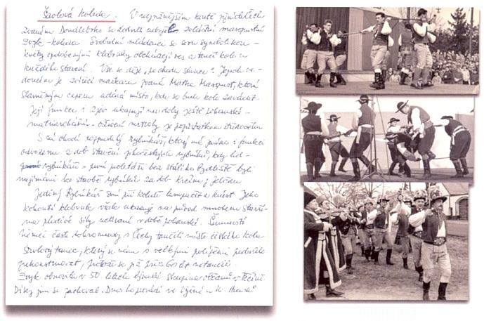 Mečová koleda Jihočeského souboru písní a tanců Úsvit a rukopis komentáře Zory Soukupové - počátek šedesátých let 20. století