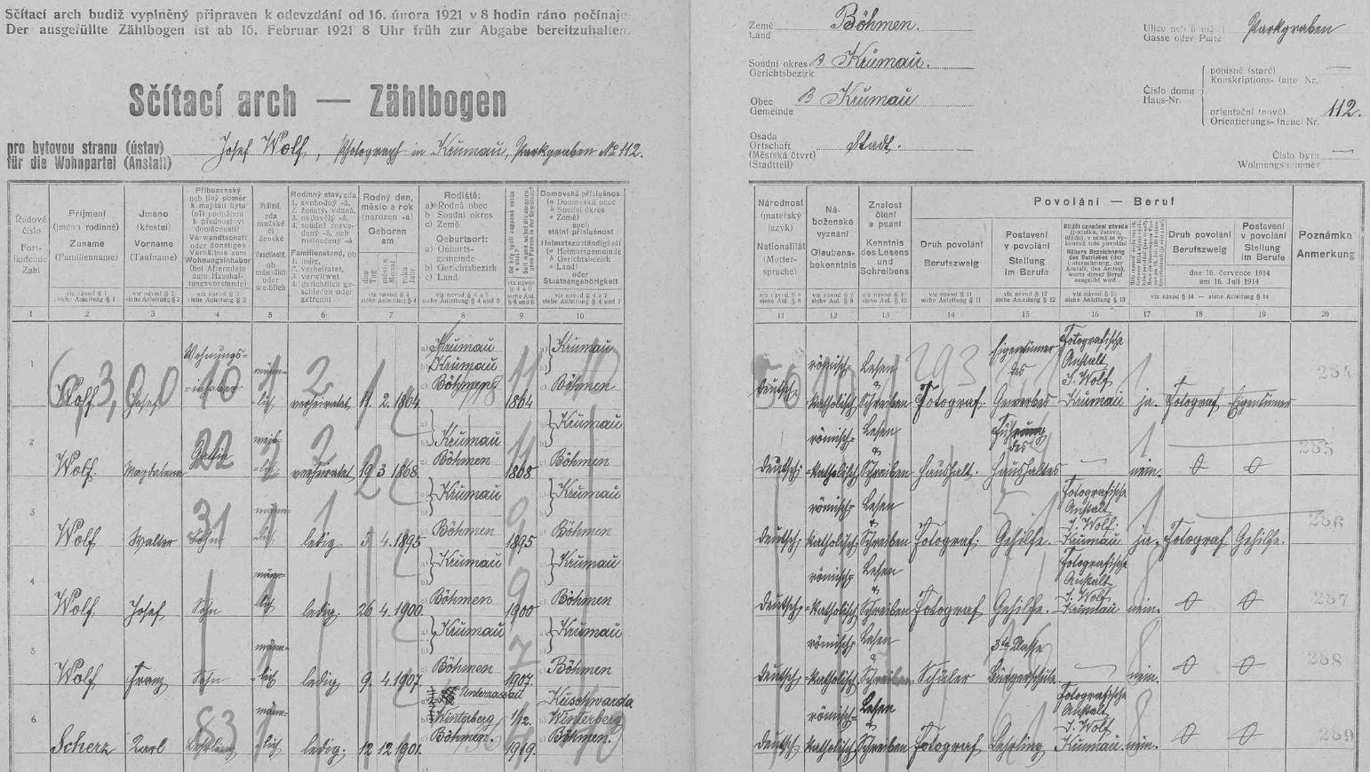 Arch ke sčítání lidu v roce 1921 pro českokrumlovský dům čp. 112 na Parkáně (Parkgraben) zaznamenává vedle manželů Josefa a Magdaleny Wolfových i jejich syny Waltera (*1895), Josefa (*1900) a Franze (*1907), jakož i učně Karla Scherze ze zaniklého dnes Dolního Cazova  (viz i Josef Wolf)