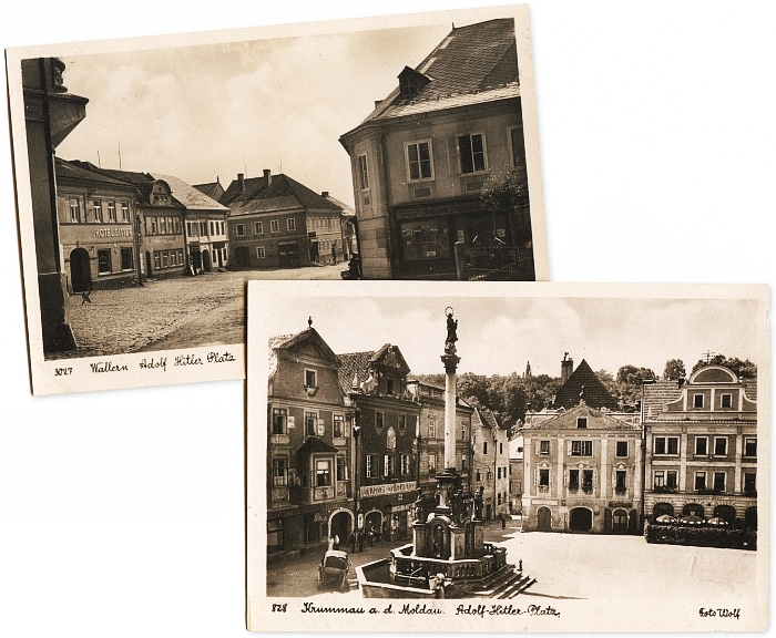"""""""Adolf Hitler Platz"""" ve Volarech a v Českém Krumlově na dvou pohlednicích otcovy firmy"""