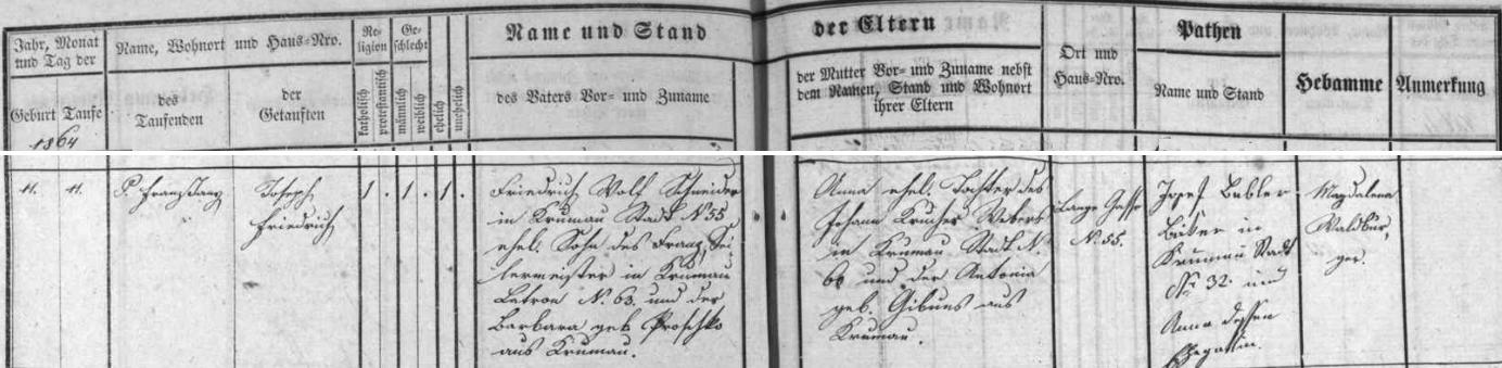 Záznam o jeho narození a křtu v českokrumlovské matrice