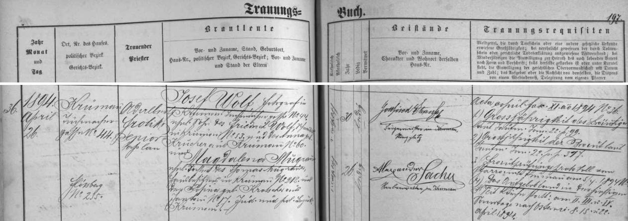 Záznam českokrumlovské oddací matriky o jeho svatbě roku 1894