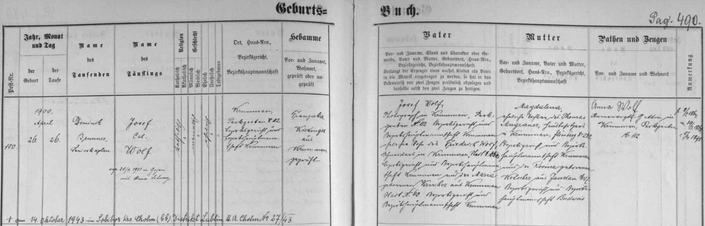 """Záznam českokrumlovské křestní matriky o narození syna Josefa (1900-1943) s pozdějším přípisem o jeho smrti 14. října 1943 při vzpouře v koncentračním táboře Sobibor, kde jako esesman (""""SS-Unter-Scharführer"""") působil"""
