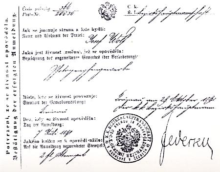 Potvrzení o získání koncese ze dne 7. července 1891