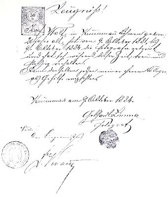 Jeho propouštěcí tovaryšské vysvědčení,  vystavené Gotthardem Zimmerem 9. října 1884