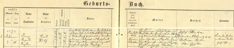 Záznam nýrské křestní matriky o jeho narození v rodině, ze které pocházely i jeho sestry Sofie, provd. Altmannová aHedwig, provd. Leitermannová, manželka Franze Leitermanna a matka Irmgard, provd. Duschekové, která byla tedy Wolfovou neteří