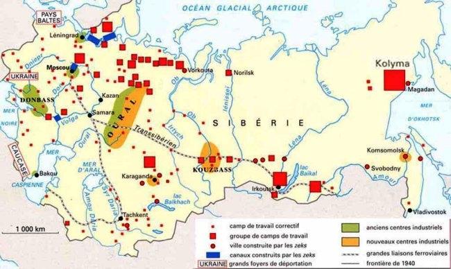 """Mapa sovětského """"archipelagu Gulag"""" - Vorkutu vidíme nahoře uprostřed"""