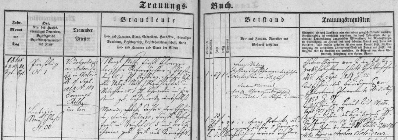 Záznam o jeho svatbě v kájovské oddací matrice