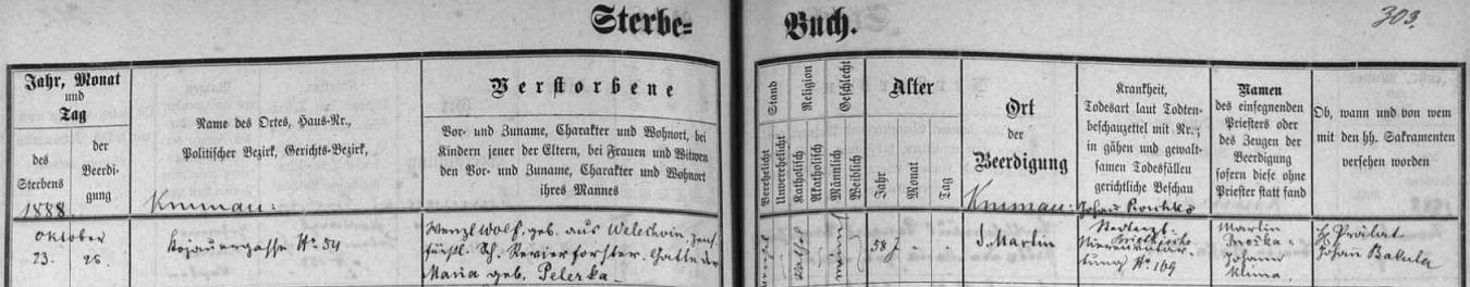 Záznam o jeho úmrtí v českokrumlovské Knize zemřelých