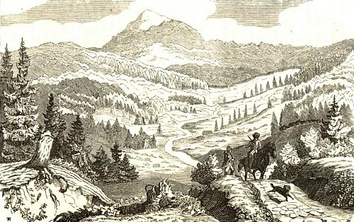 Luzný a lovec na koni na dřevorytu podle kresby Eduarda Herolda