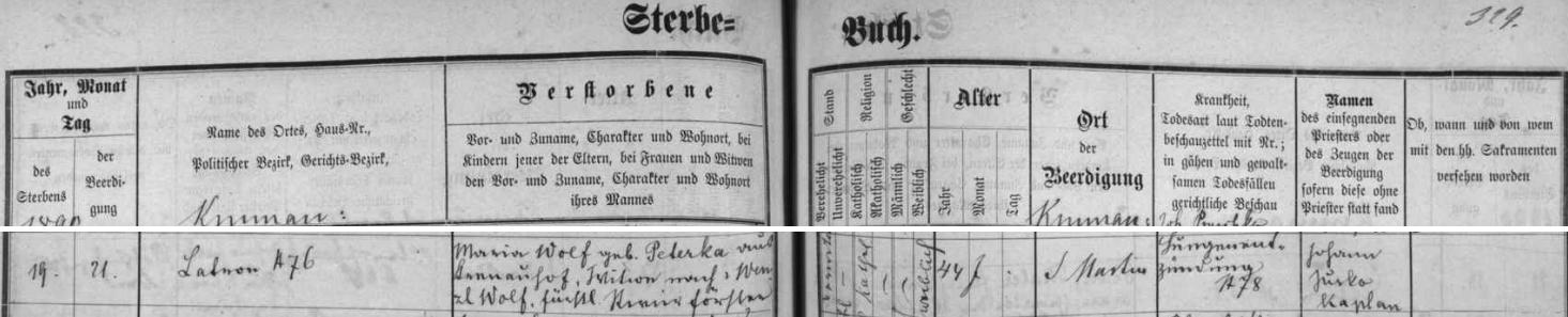 Záznam českokrumlovské Knihy zemřelých o úmrtí jeho ženy Marie