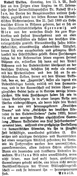 Nekrolog šifry Arnold v renomovaném vídeňském listu
