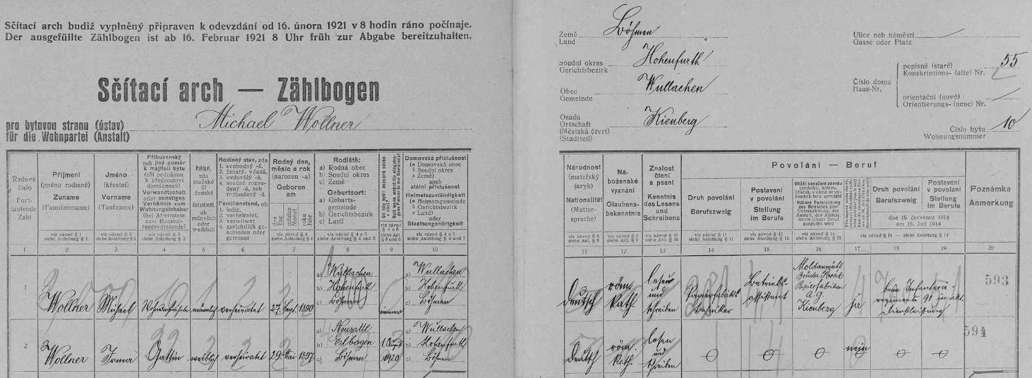 On a jeho žena Irma na archu sčítání lidu z roku 1921 pro loučovický dům čp. 55