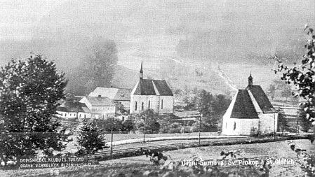 Pohlednice Loučovic s prastarými kostelíky sv. Prokopa asv.Oldřicha (viz i Rudolf Barth a Marie Stopferová)