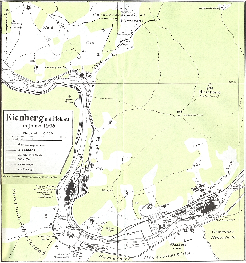 Ještě v květnu 1968, tři měsíce před svou smrtí, nakreslil pro svou knihu o Loučovicích tento plán obce podle stavu zroku 1945
