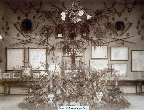 Wondrův snímek z roku 1898 zachycuje knížecí schwarzenberskou expozici na vídeňské jubilejní výstavě k 50. výročí vlády císaře Františka Josefa