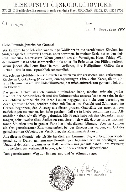 """Německý dopis českobudějovického biskupa ze září roku 1990 vyzývá k obnově kostela ve Zvonkové, kespolečné cestě """"zur Erneuerung und Versöhnung"""", tj. """"k duchovní obnově a smíření"""""""