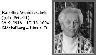 Matka na seznamu zemřelých rodáků z někdejšího Glöckelbergu