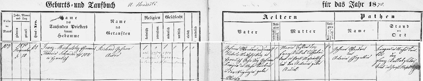 Záznam o jeho narození v křestní matrice z Uherského Hradiště na stránkách Moravského zemského archivu