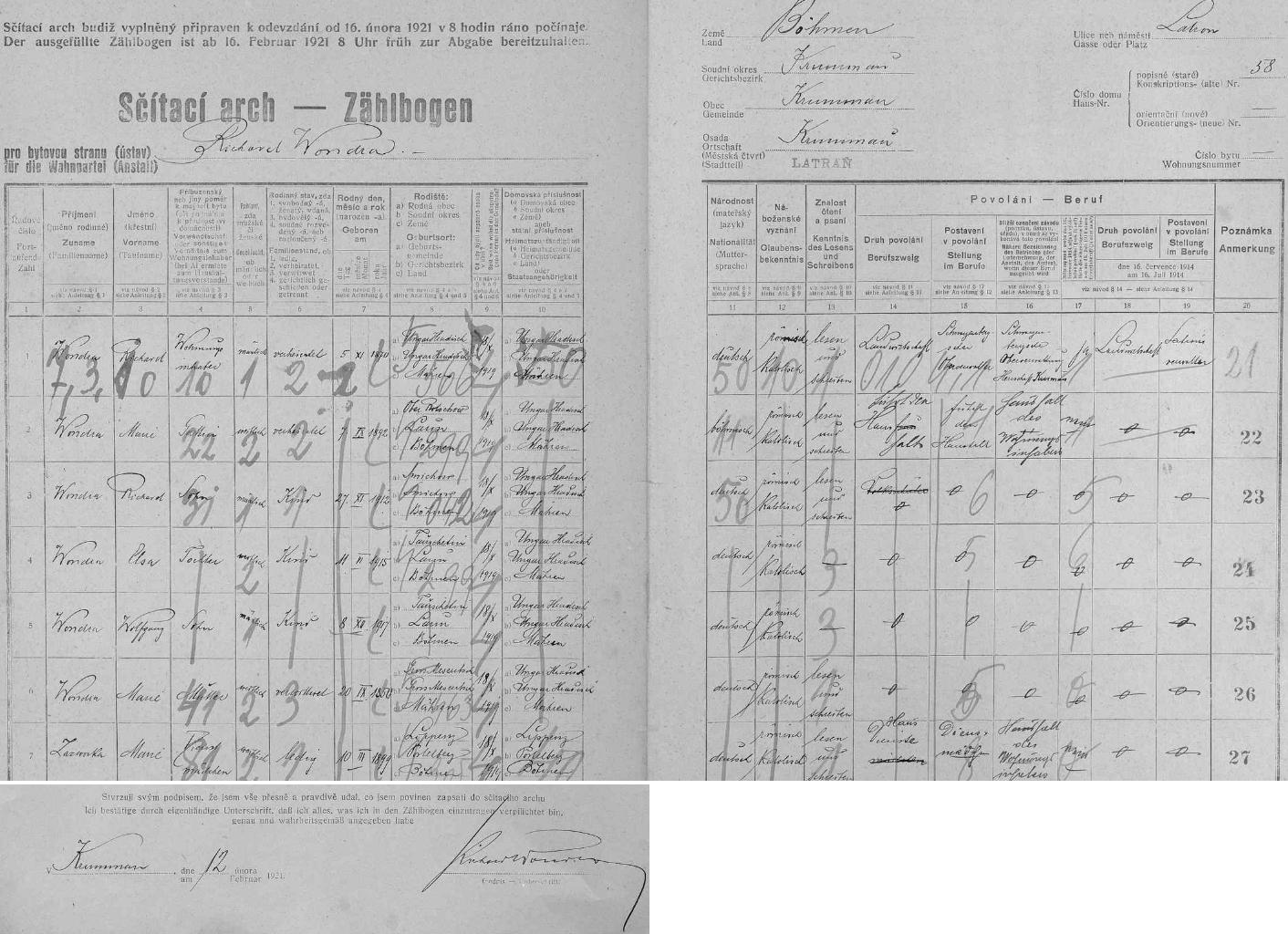 Arch sčítání lidu z roku 1921 pro dům čp. 58 na českokrumlovském Latráně s rodinou Wondrovou, tj. Richardem Wondrou st. a jeho ženou Marií, syny Richardem (*27. listopadu 1912 na pražském Smíchově) a Wolfgangem (*8. prosince 1917 v Toužetíně u Loun), jakož dcerou Elsou (*11. června 1915 rovněž v Toužetíně), Wondrovou matkou Marií (*20. září 1850 ve Velkém Meziříčí) a jejich německou služkou z Lipna u Postoloprt
