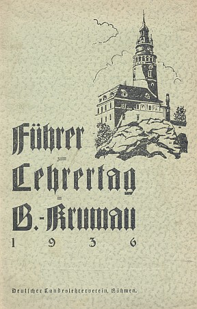 Obálka (1936) příležitostného tisku, v němž se objevil ve zkrácené podobě jeho text o Krumlově jako opevněném městě