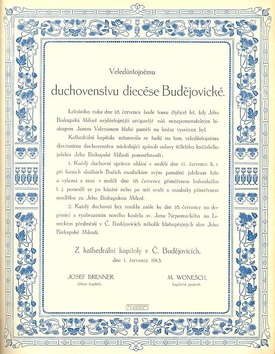 """Je tu podepsán pod návrhem na uctění 40. výročí kněžského svěcení biskupa J. A. Hůlky (1851-1920) """"nezapomenutelným biskupem J. V. Jirsíkem"""""""
