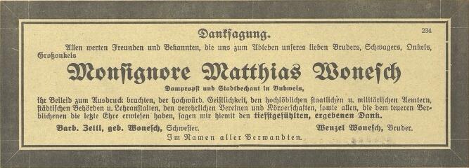 Poděkování za projevy účasti, podepsané i bratrem Wenzelem Woneschem