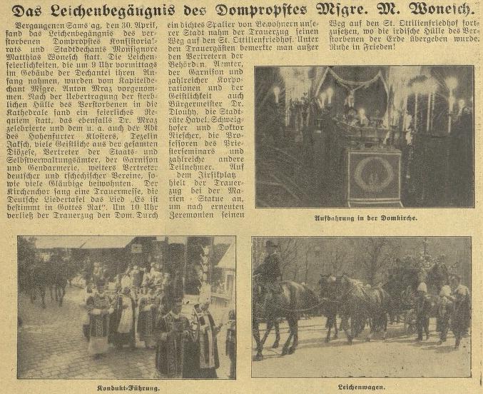 Zpráva o jeho pohřbu v českobudějovickém německém listě