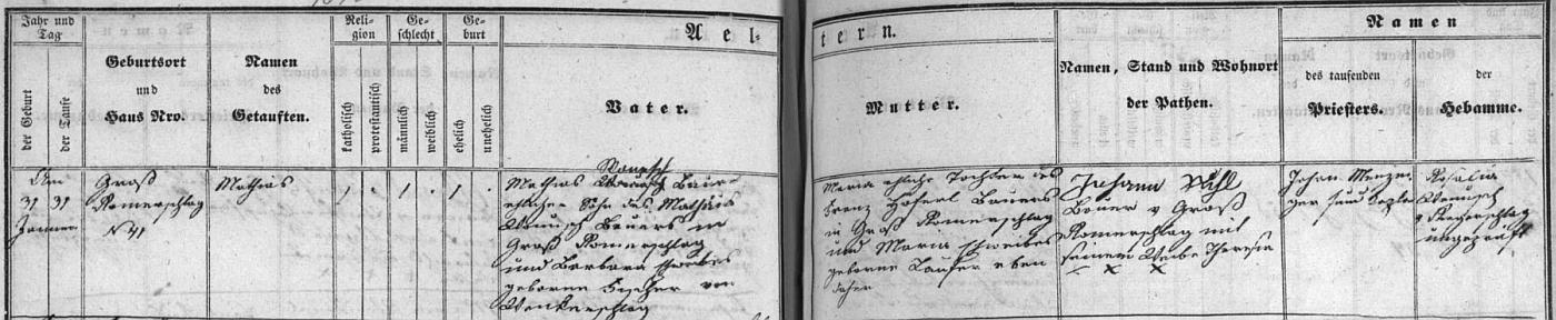 Záznam o jeho narození ve Velkém Ratmírově v lodhéřovské křestní matrice