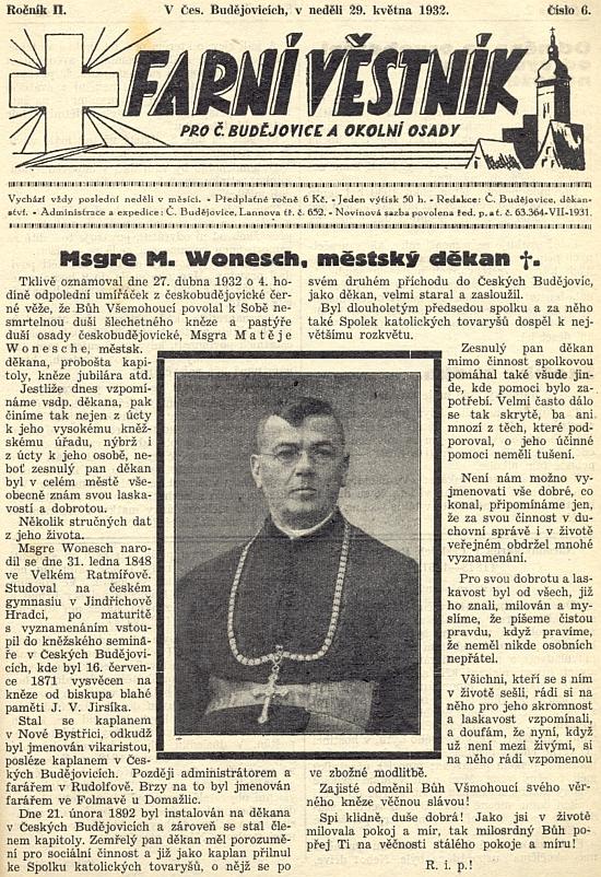 Jeho nekrolog na titulní stránce českobudějovického farního věstníku
